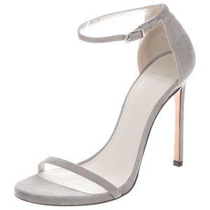 Stuart Weitzman grey suede nudist heels